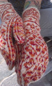 Rainbow mitts by Drops Design